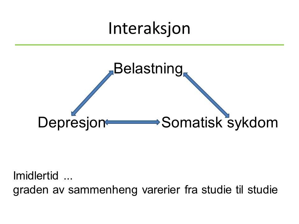 Interaksjon Depresjon Somatisk sykdom Imidlertid...