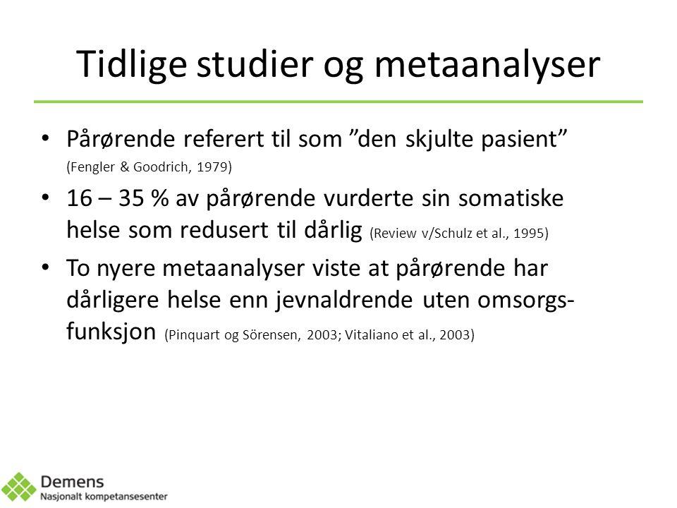Tidlige studier og metaanalyser Pårørende referert til som den skjulte pasient (Fengler & Goodrich, 1979) 16 – 35 % av pårørende vurderte sin somatiske helse som redusert til dårlig (Review v/Schulz et al., 1995) To nyere metaanalyser viste at pårørende har dårligere helse enn jevnaldrende uten omsorgs- funksjon (Pinquart og Sörensen, 2003; Vitaliano et al., 2003)