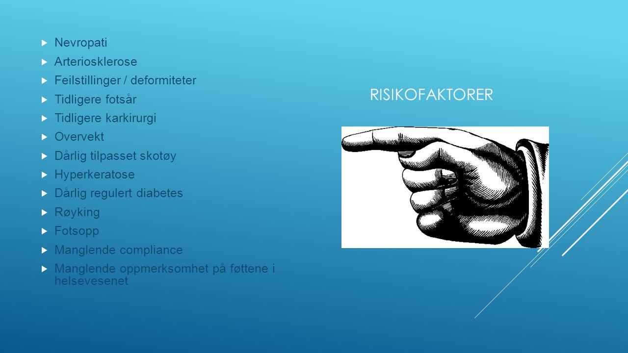 RISIKOFAKTORER  Nevropati  Arteriosklerose  Feilstillinger / deformiteter  Tidligere fotsår  Tidligere karkirurgi  Overvekt  Dårlig tilpasset skotøy  Hyperkeratose  Dårlig regulert diabetes  Røyking  Fotsopp  Manglende compliance  Manglende oppmerksomhet på føttene i helsevesenet