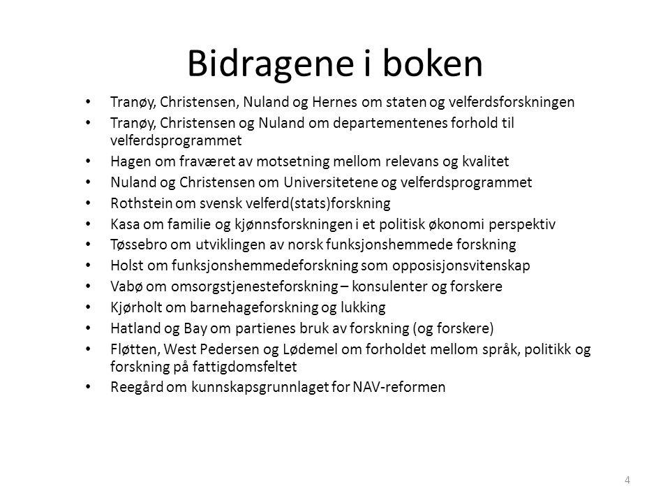 Bidragene i boken Tranøy, Christensen, Nuland og Hernes om staten og velferdsforskningen Tranøy, Christensen og Nuland om departementenes forhold til