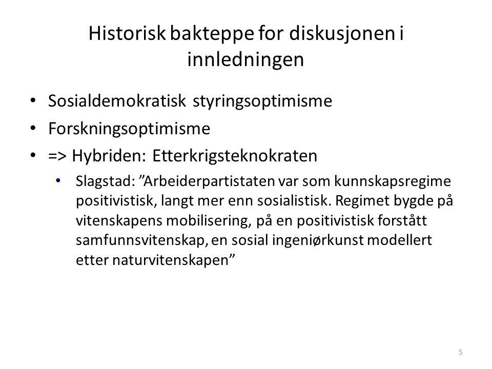 Historisk bakteppe for diskusjonen i innledningen Sosialdemokratisk styringsoptimisme Forskningsoptimisme => Hybriden: Etterkrigsteknokraten Slagstad:
