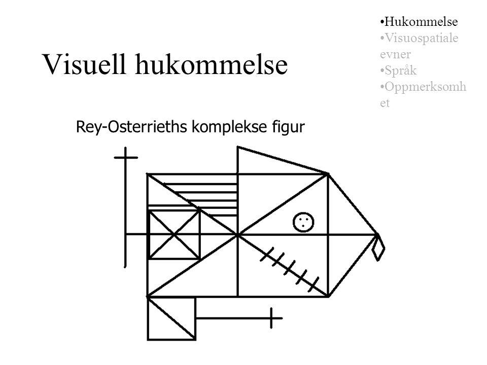 Visuell hukommelse Rey-Osterrieths komplekse figur Hukommelse Visuospatiale evner Språk Oppmerksomh et