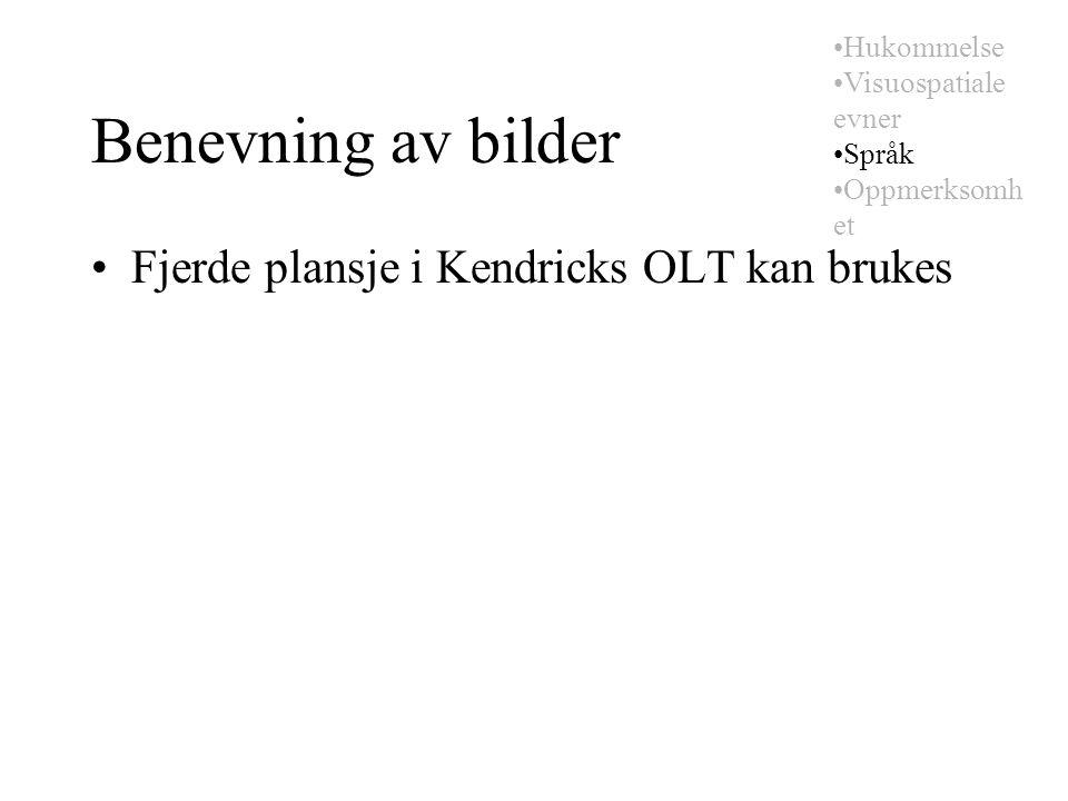 Benevning av bilder Fjerde plansje i Kendricks OLT kan brukes Hukommelse Visuospatiale evner Språk Oppmerksomh et