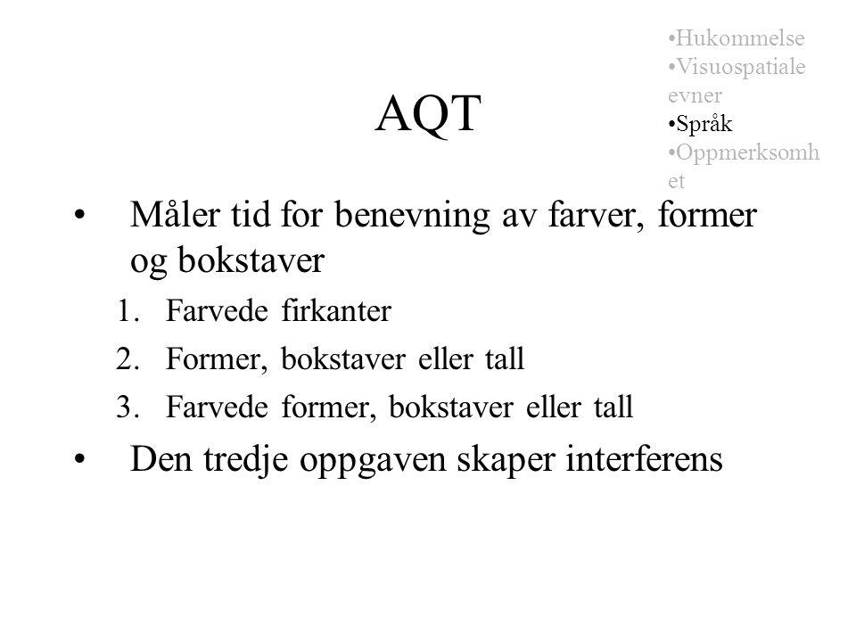 AQT Måler tid for benevning av farver, former og bokstaver 1.Farvede firkanter 2.Former, bokstaver eller tall 3.Farvede former, bokstaver eller tall Den tredje oppgaven skaper interferens Hukommelse Visuospatiale evner Språk Oppmerksomh et