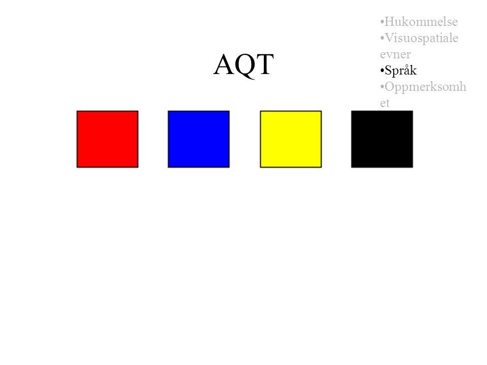 AQT Hukommelse Visuospatiale evner Språk Oppmerksomh et