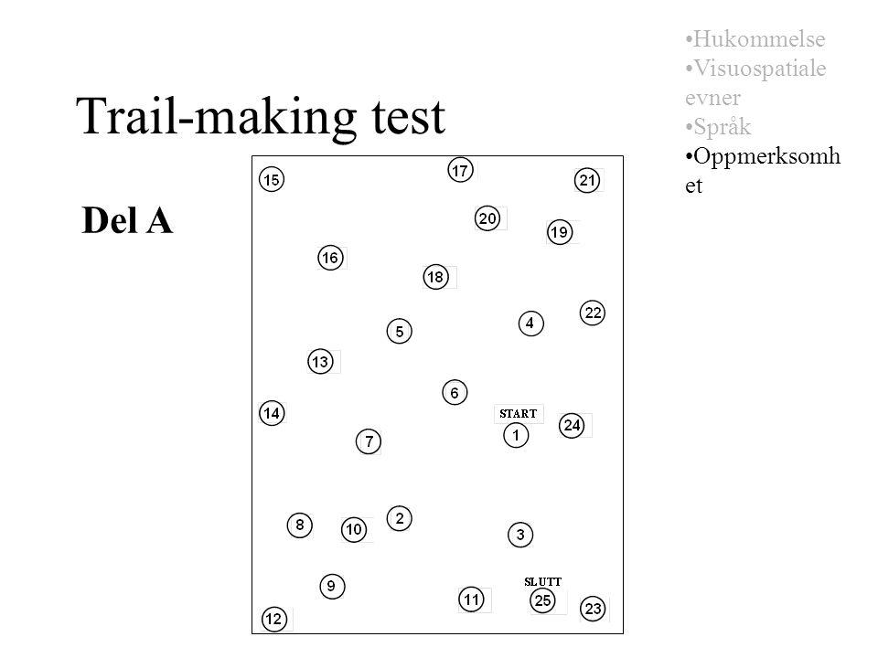 Trail-making test Del A Hukommelse Visuospatiale evner Språk Oppmerksomh et