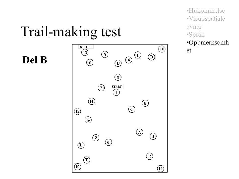 Trail-making test Del B Hukommelse Visuospatiale evner Språk Oppmerksomh et