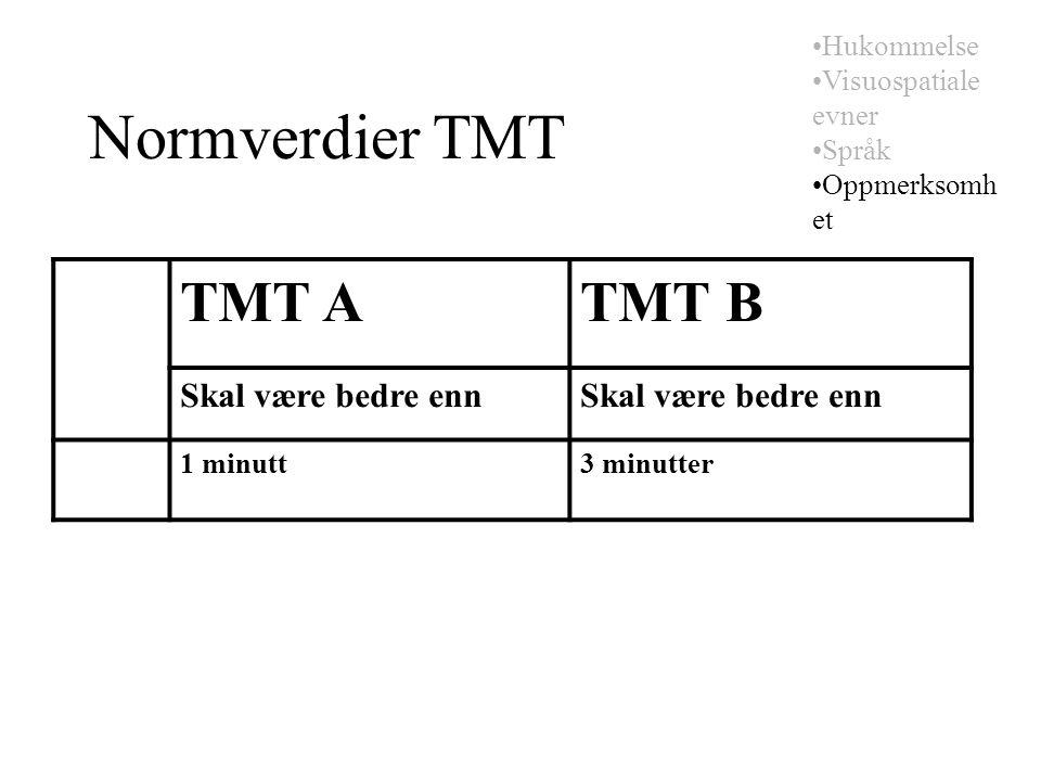 Normverdier TMT TMT ATMT B Skal være bedre enn 1 minutt3 minutter Hukommelse Visuospatiale evner Språk Oppmerksomh et