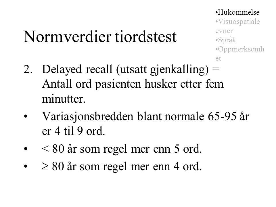 Normverdier tiordstest 2. Delayed recall (utsatt gjenkalling) = Antall ord pasienten husker etter fem minutter. Variasjonsbredden blant normale 65-95