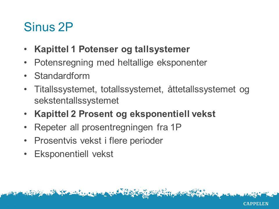 Sinus 2P Kapittel 1 Potenser og tallsystemer Potensregning med heltallige eksponenter Standardform Titallssystemet, totallssystemet, åttetallssystemet