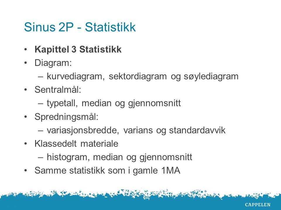 Sinus 2P - Statistikk Kapittel 3 Statistikk Diagram: –kurvediagram, sektordiagram og søylediagram Sentralmål: –typetall, median og gjennomsnitt Spredn
