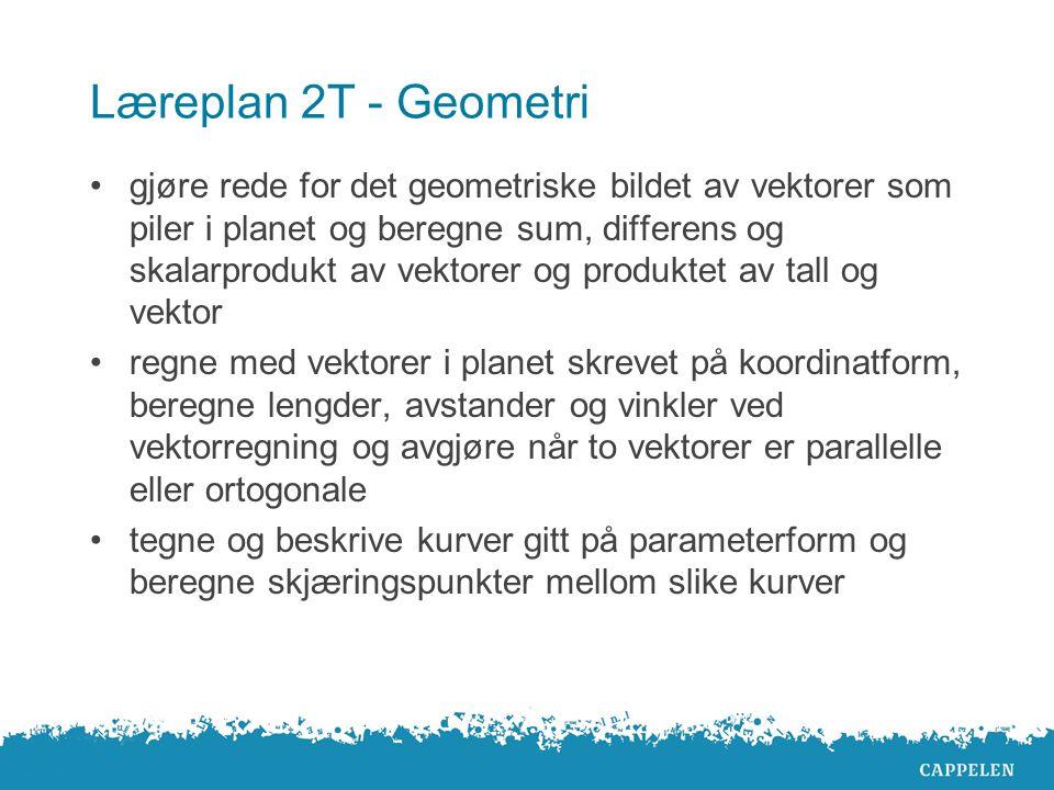 Læreplan 2T - Geometri gjøre rede for det geometriske bildet av vektorer som piler i planet og beregne sum, differens og skalarprodukt av vektorer og