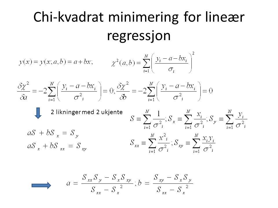 Chi-kvadrat minimering for lineær regressjon 2 likninger med 2 ukjente