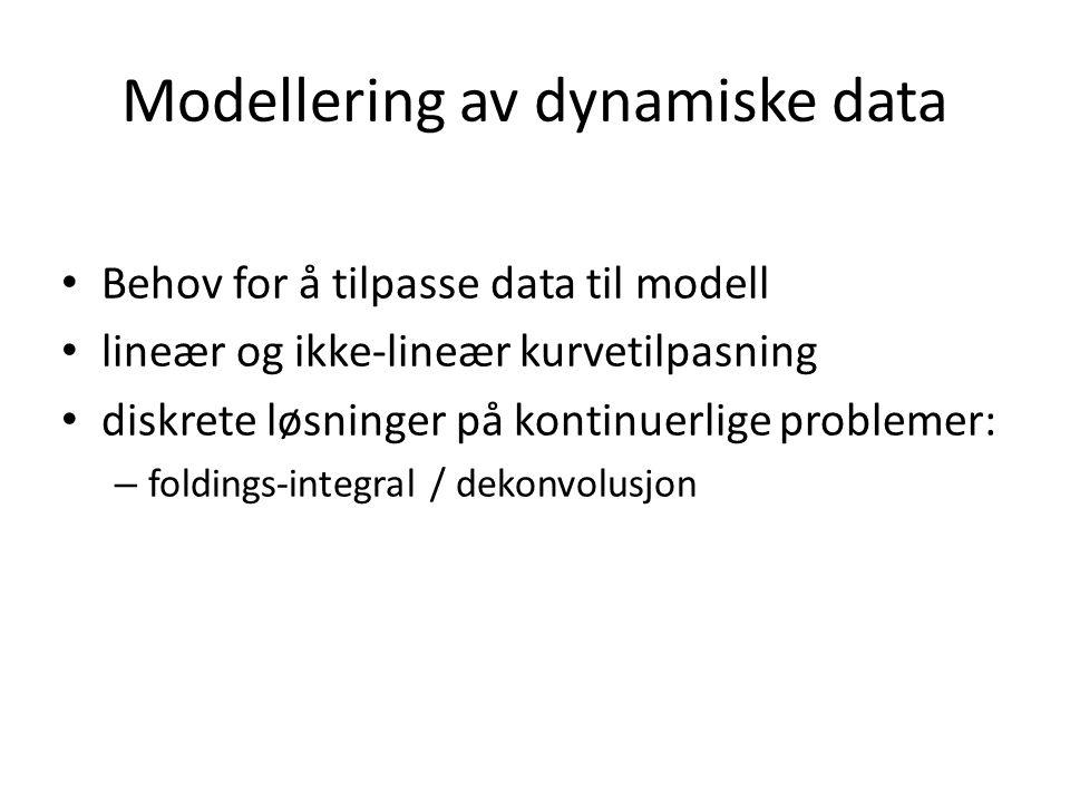 Modellering av dynamiske data Behov for å tilpasse data til modell lineær og ikke-lineær kurvetilpasning diskrete løsninger på kontinuerlige problemer: – foldings-integral / dekonvolusjon