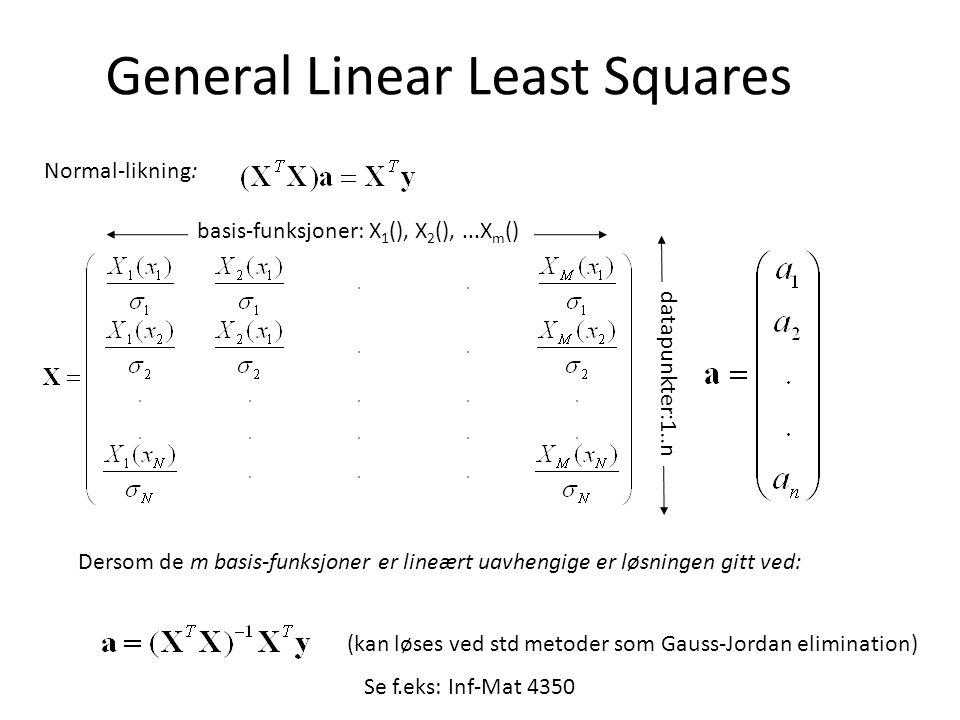 General Linear Least Squares basis-funksjoner: X 1 (), X 2 (),...X m () datapunkter:1..n Normal-likning: Dersom de m basis-funksjoner er lineært uavhengige er løsningen gitt ved: (kan løses ved std metoder som Gauss-Jordan elimination) Se f.eks: Inf-Mat 4350