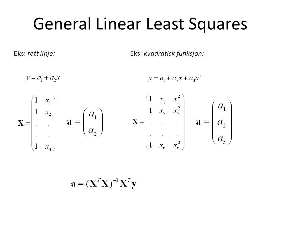 General Linear Least Squares Eks: rett linje: Eks: kvadratisk funksjon: