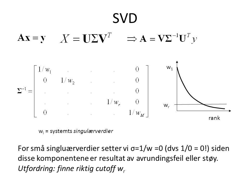 SVD rank w1w1 w i = systemts singulærverdier For små singluærverdier setter vi σ=1/w =0 (dvs 1/0 = 0!) siden disse komponentene er resultat av avrundingsfeil eller støy.