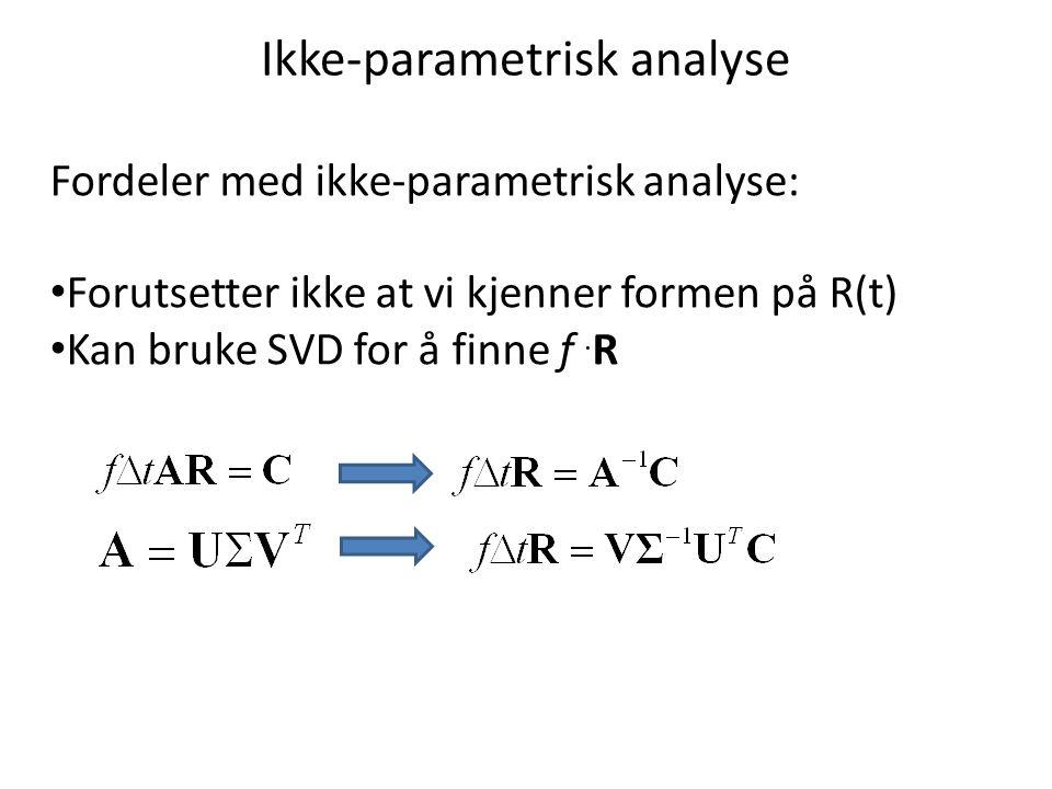Ikke-parametrisk analyse Fordeler med ikke-parametrisk analyse: Forutsetter ikke at vi kjenner formen på R(t) Kan bruke SVD for å finne f.