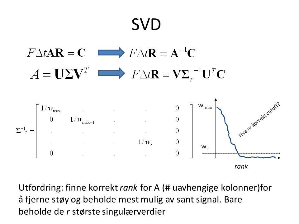 SVD Utfordring: finne korrekt rank for A (# uavhengige kolonner)for å fjerne støy og beholde mest mulig av sant signal.
