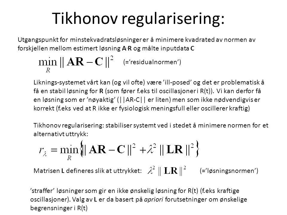 Tikhonov regularisering: Utgangspunkt for minstekvadratsløsninger er å minimere kvadrated av normen av forskjellen mellom estimert løsning A.