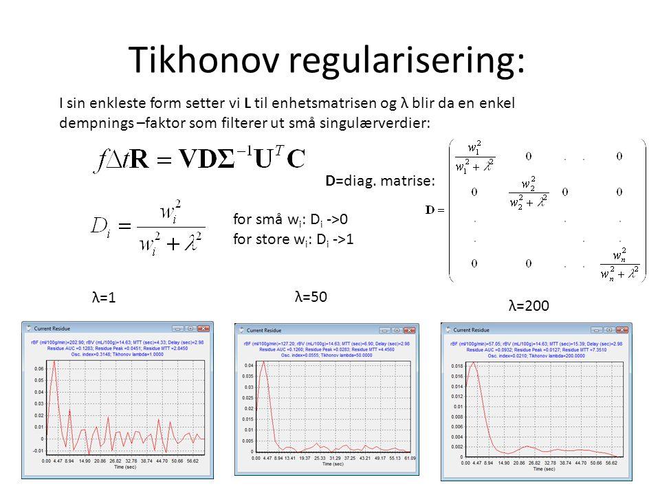 Tikhonov regularisering: I sin enkleste form setter vi L til enhetsmatrisen og λ blir da en enkel dempnings –faktor som filterer ut små singulærverdier: for små w i : D i ->0 for store w i : D i ->1 λ=1 λ=50 λ=200 D=diag.
