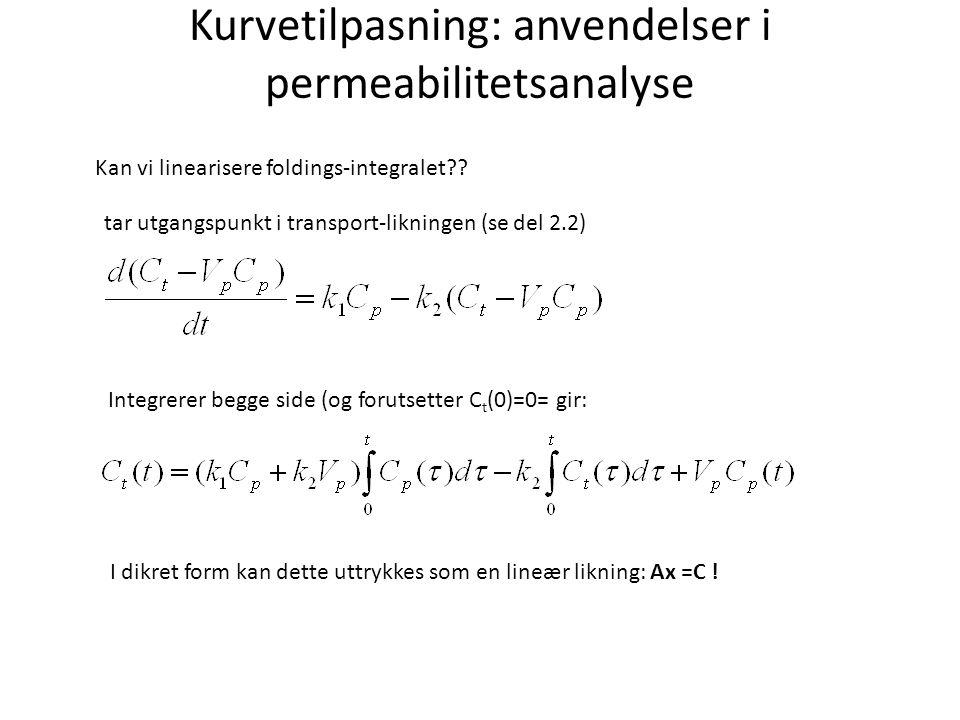Kurvetilpasning: anvendelser i permeabilitetsanalyse Kan vi linearisere foldings-integralet .