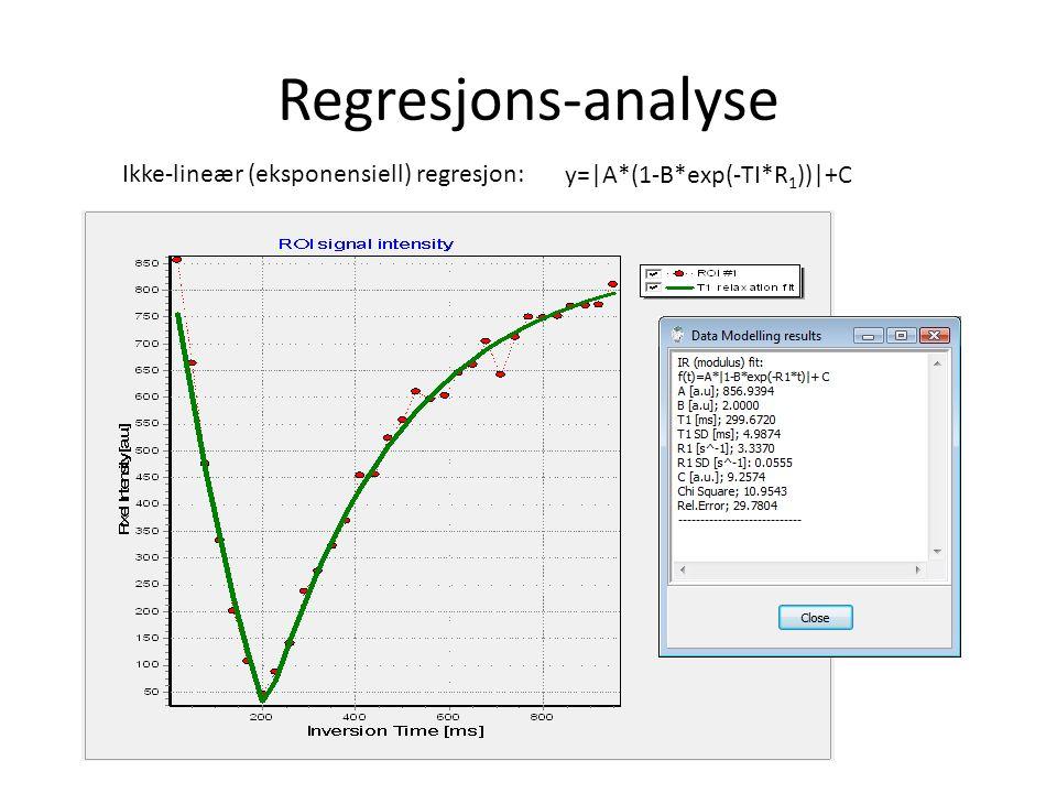 Regresjons-analyse Ikke-lineær (eksponensiell) regresjon: y=|A*(1-B*exp(-TI*R 1 ))|+C