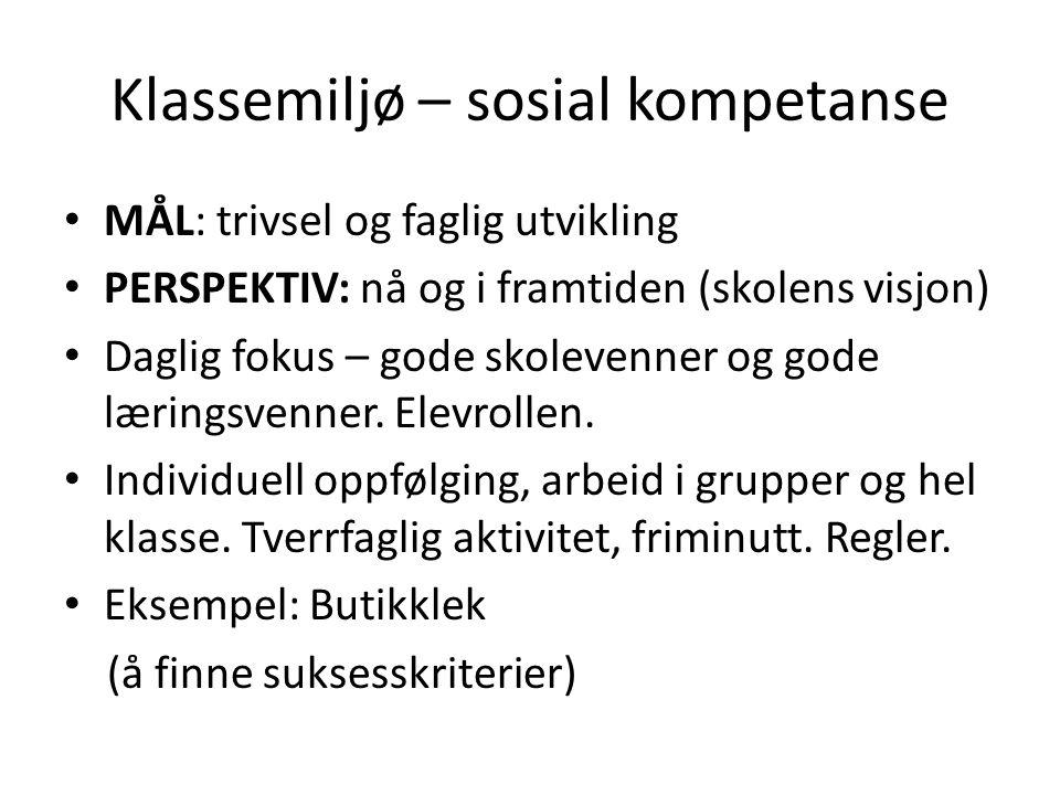 Klassemiljø – sosial kompetanse MÅL: trivsel og faglig utvikling PERSPEKTIV: nå og i framtiden (skolens visjon) Daglig fokus – gode skolevenner og gode læringsvenner.