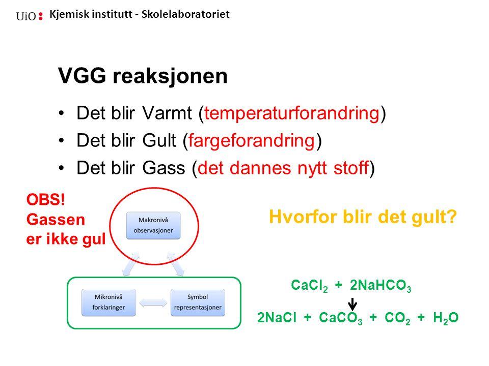 Kjemisk institutt - Skolelaboratoriet VGG reaksjonen Det blir Varmt (temperaturforandring) Det blir Gult (fargeforandring) Det blir Gass (det dannes n