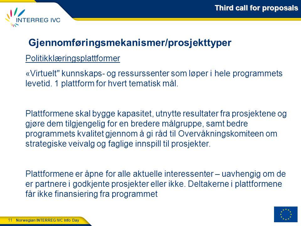 11 Norwegian INTERREG IVC Info Day Gjennomføringsmekanismer/prosjekttyper Politikklæringsplattformer «Virtuelt kunnskaps- og ressurssenter som løper i hele programmets levetid.
