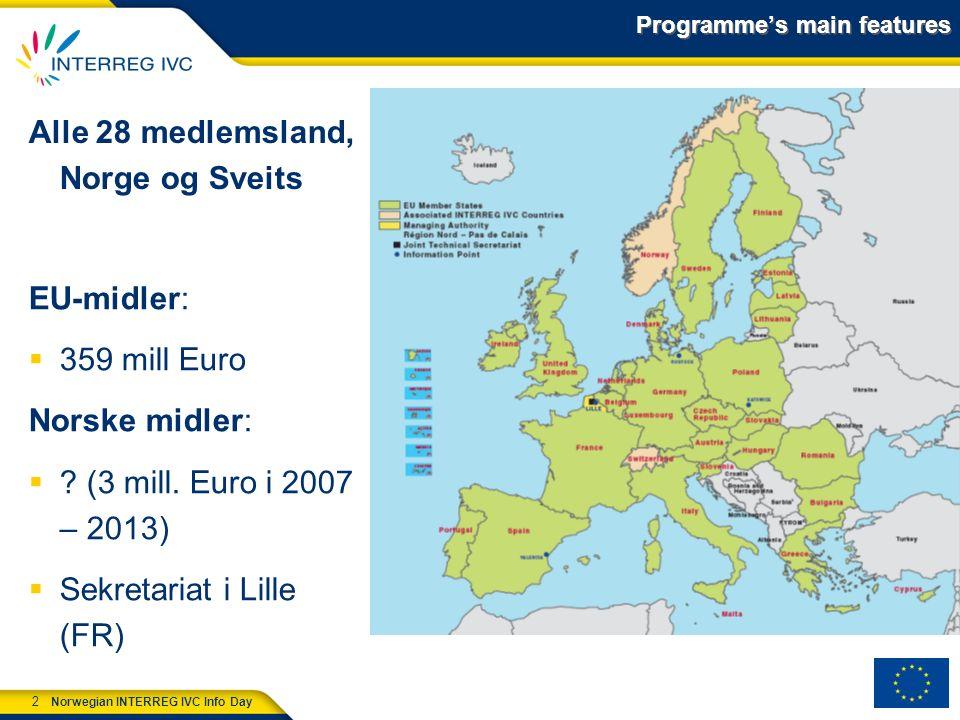 13 Norwegian INTERREG IVC Info Day Nytt i forhold til Interreg IVC-programmet Større tematisk fokus Systematisk overvåkning av resultatoppnåelse, jf.