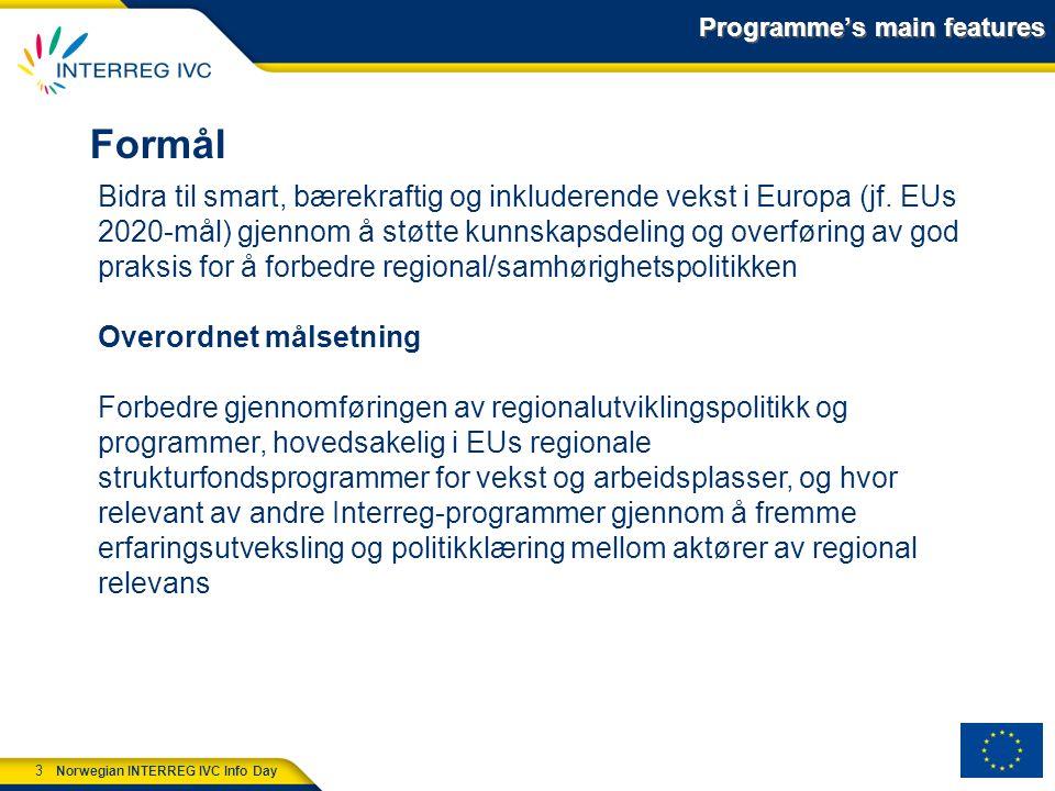 3 Norwegian INTERREG IVC Info Day Programme's main features Formål Bidra til smart, bærekraftig og inkluderende vekst i Europa (jf.
