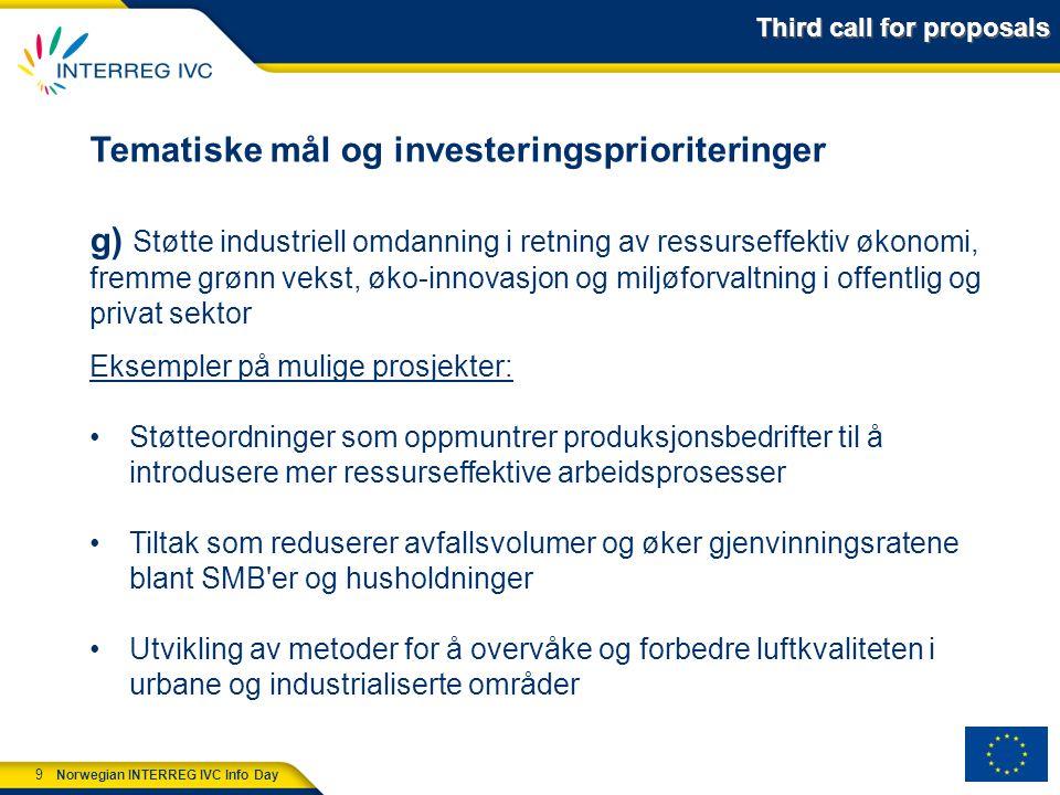 10 Norwegian INTERREG IVC Info Day Gjennomføringsmekanismer/prosjekttyper Interregionale samarbeidsprosjekter i to faser Fase 1: Tradisjonell erfaringsutveksling mellom partnerne som resulterer i en handlingsplan.