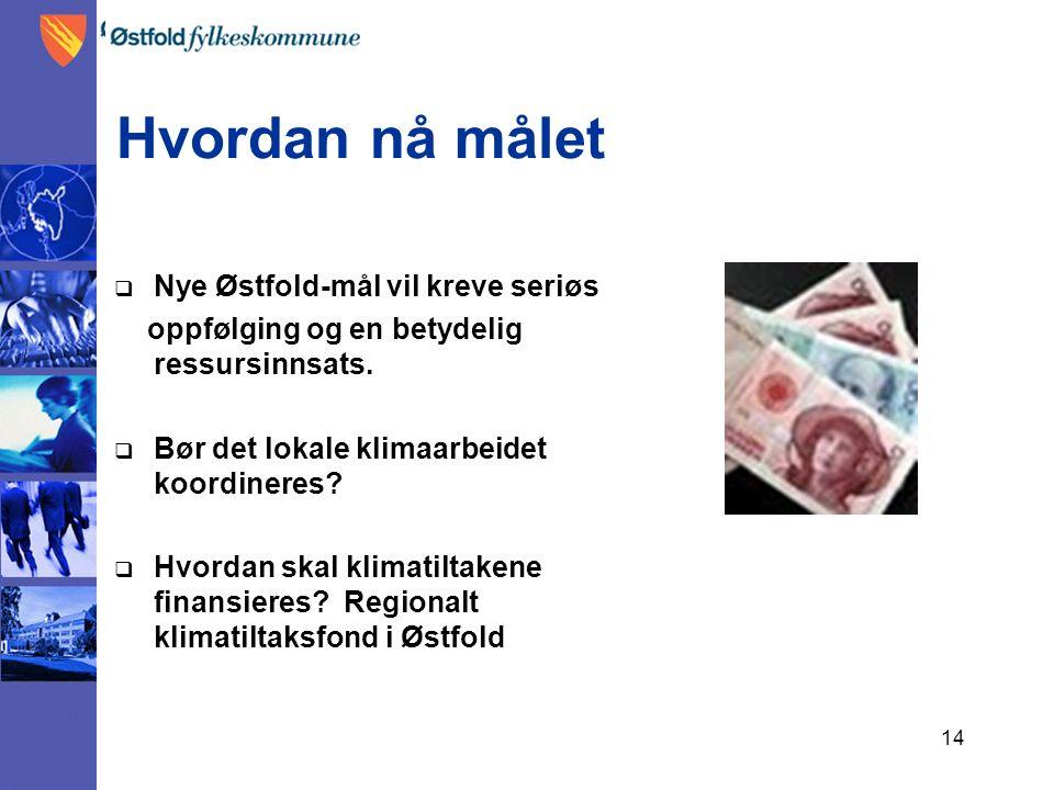 14 Hvordan nå målet  Nye Østfold-mål vil kreve seriøs oppfølging og en betydelig ressursinnsats.