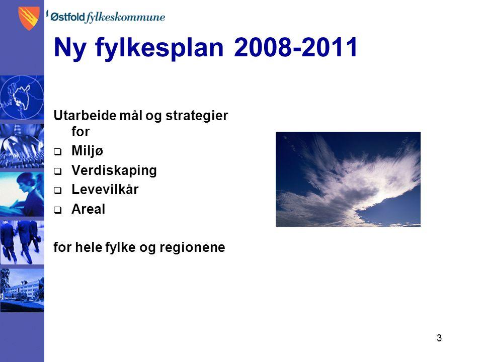 3 Ny fylkesplan 2008-2011 Utarbeide mål og strategier for  Miljø  Verdiskaping  Levevilkår  Areal for hele fylke og regionene