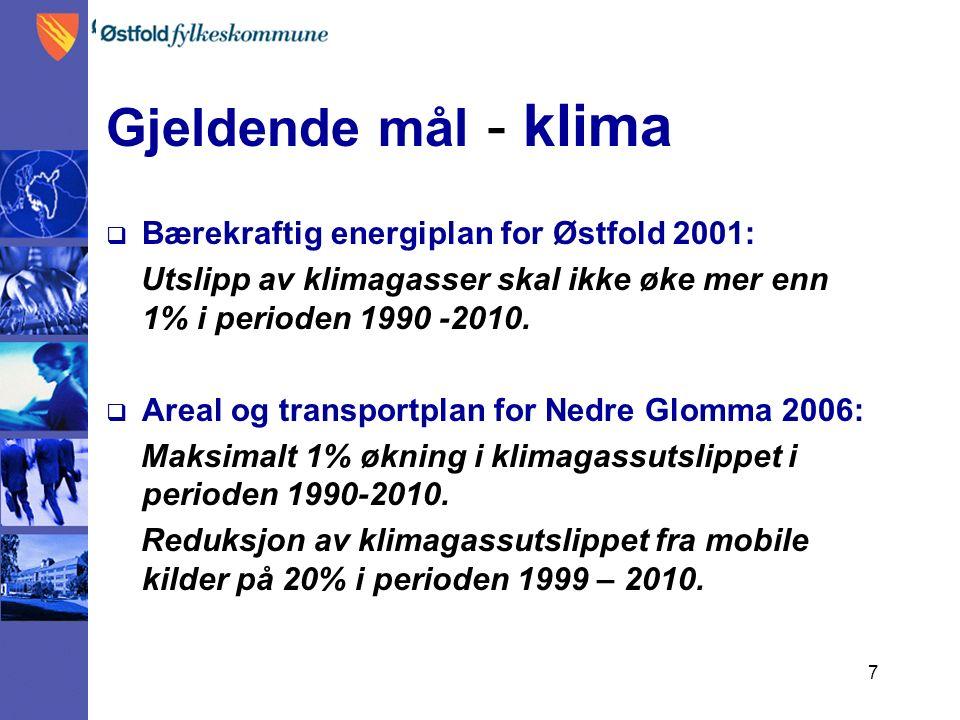 7 Gjeldende mål - klima  Bærekraftig energiplan for Østfold 2001: Utslipp av klimagasser skal ikke øke mer enn 1% i perioden 1990 -2010.  Areal og t
