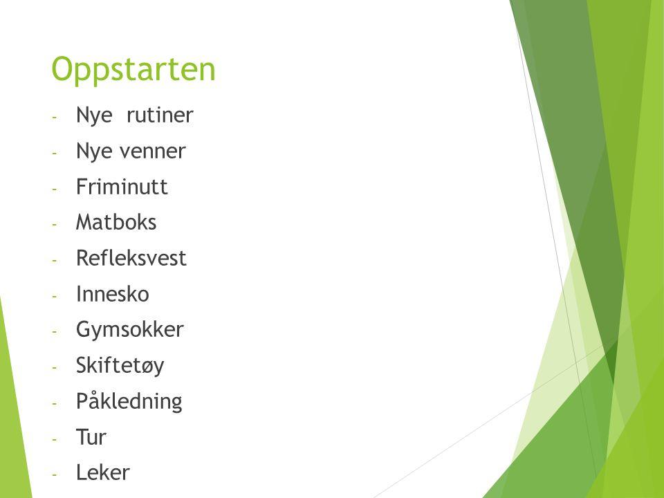 Oppstarten - Nye rutiner - Nye venner - Friminutt - Matboks - Refleksvest - Innesko - Gymsokker - Skiftetøy - Påkledning - Tur - Leker