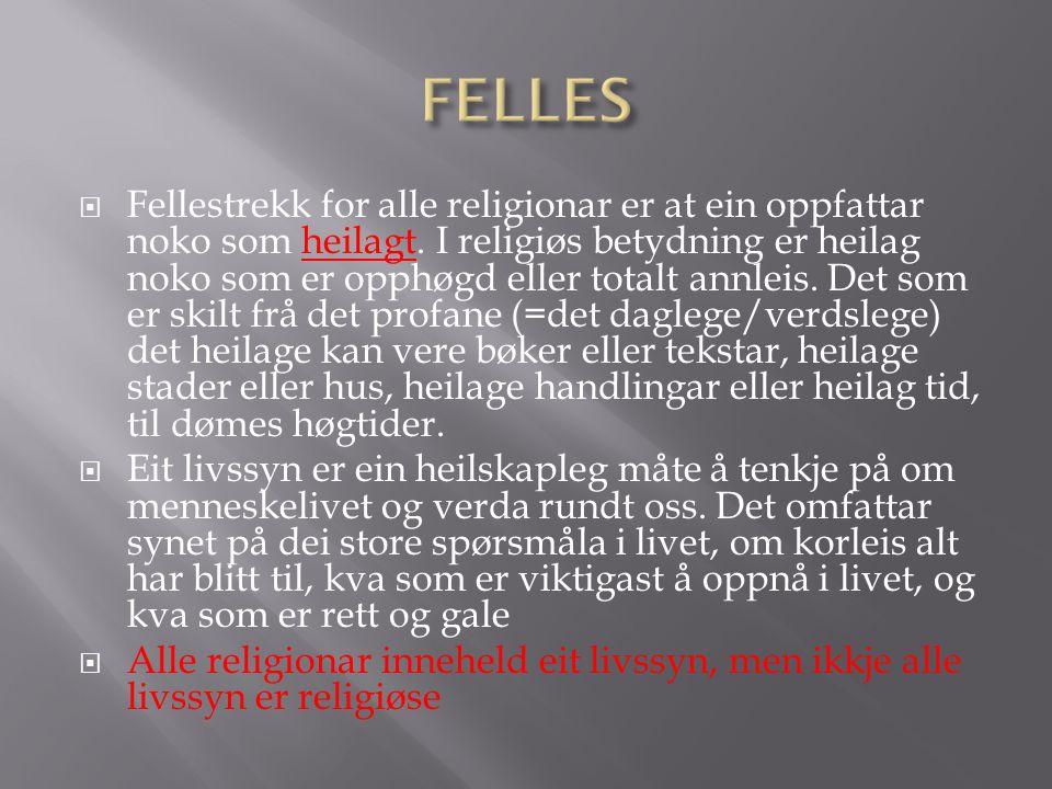  Fellestrekk for alle religionar er at ein oppfattar noko som heilagt.