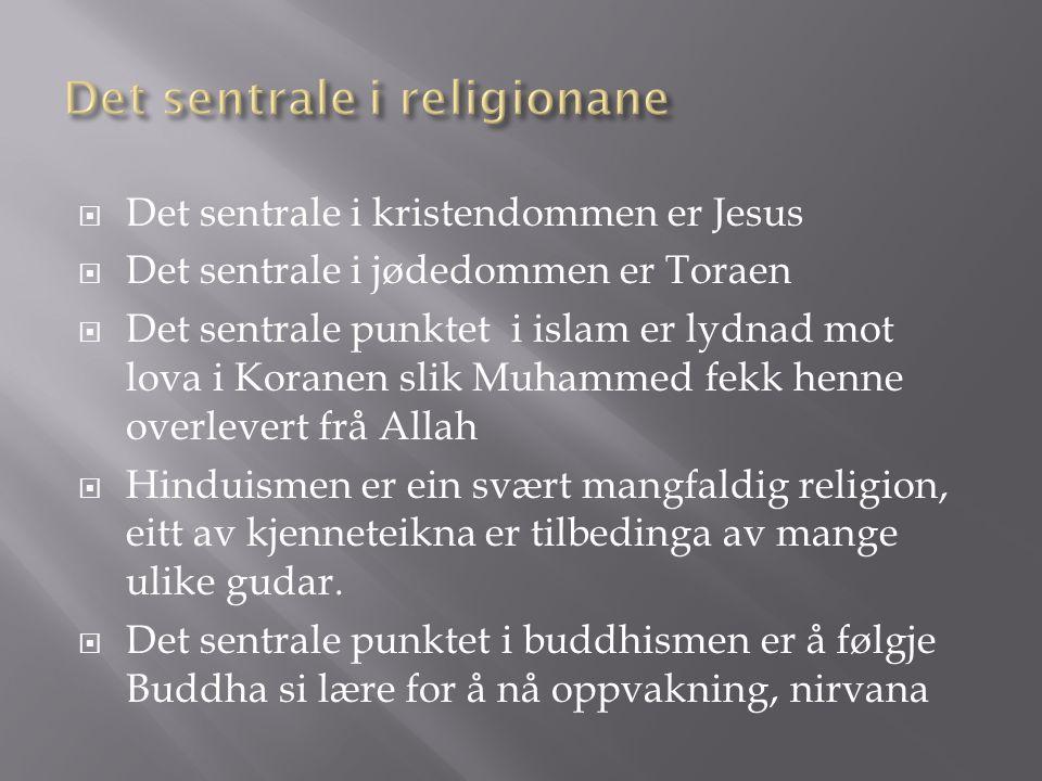  Det sentrale i kristendommen er Jesus  Det sentrale i jødedommen er Toraen  Det sentrale punktet i islam er lydnad mot lova i Koranen slik Muhammed fekk henne overlevert frå Allah  Hinduismen er ein svært mangfaldig religion, eitt av kjenneteikna er tilbedinga av mange ulike gudar.