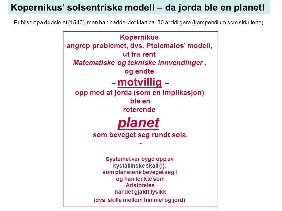 Kopernikus' solsentriske modell – da jorda ble en planet.