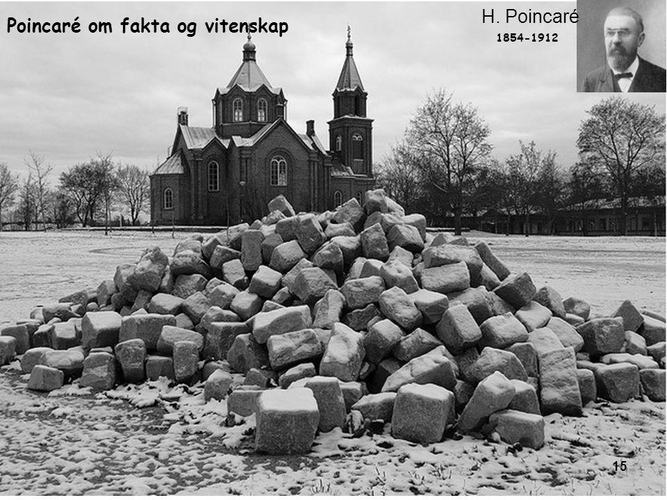 15 1854-1912 H. Poincaré Poincaré om fakta og vitenskap