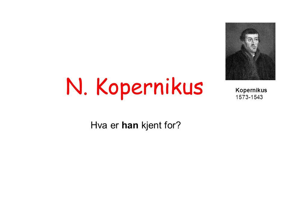 N. Kopernikus Kopernikus 1573-1543 Sola, ikke Jorda er i sentrum -slik Aristoteles og Kikra hevdet!