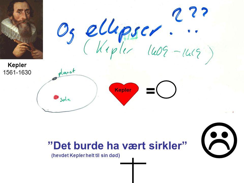Kepler 1561-1630 = Kepler Mentalt sett Det burde ha vært sirkler (hevdet Kepler helt til sin død ) 
