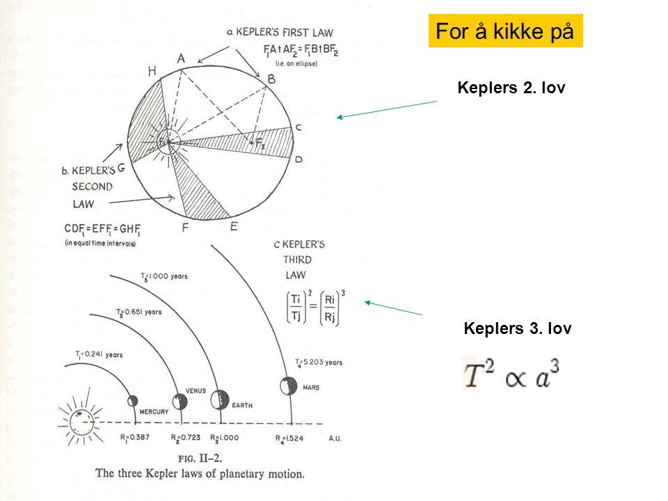 Keplers 3. lov Keplers 2. lov For å kikke på