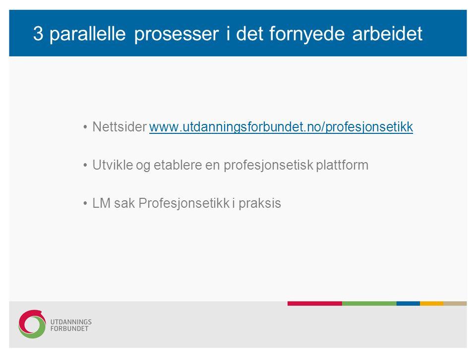 3 parallelle prosesser i det fornyede arbeidet Nettsider www.utdanningsforbundet.no/profesjonsetikkwww.utdanningsforbundet.no/profesjonsetikk Utvikle