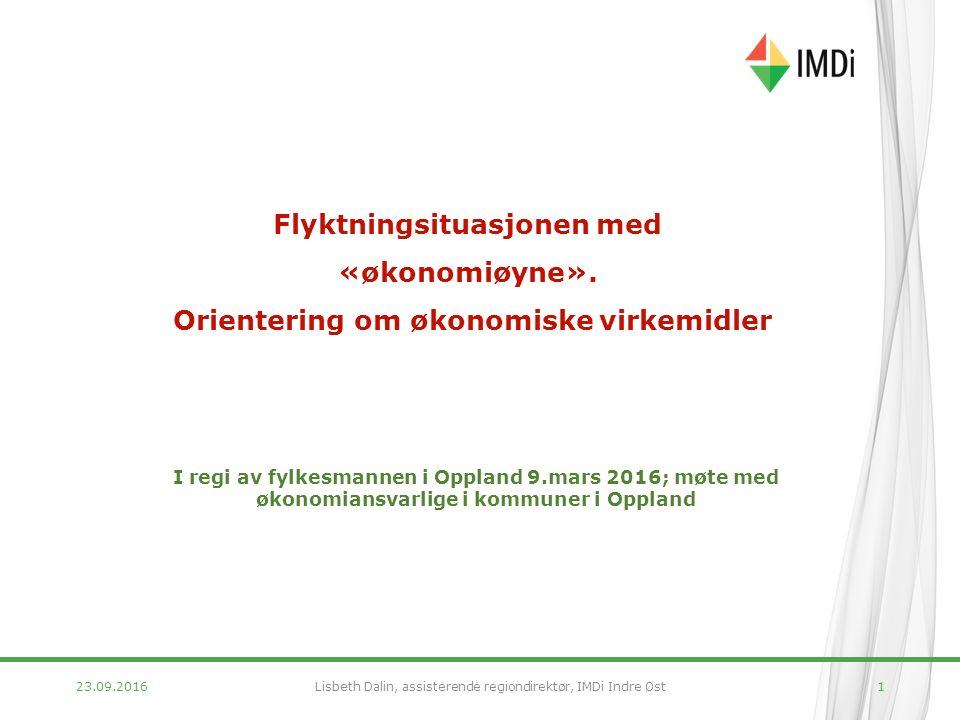 23.09.20161 I regi av fylkesmannen i Oppland 9.mars 2016; møte med økonomiansvarlige i kommuner i Oppland Flyktningsituasjonen med «økonomiøyne».