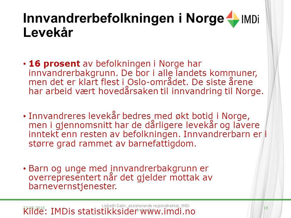 Innvandrerbefolkningen i Norge Levekår 16 prosent av befolkningen i Norge har innvandrerbakgrunn.
