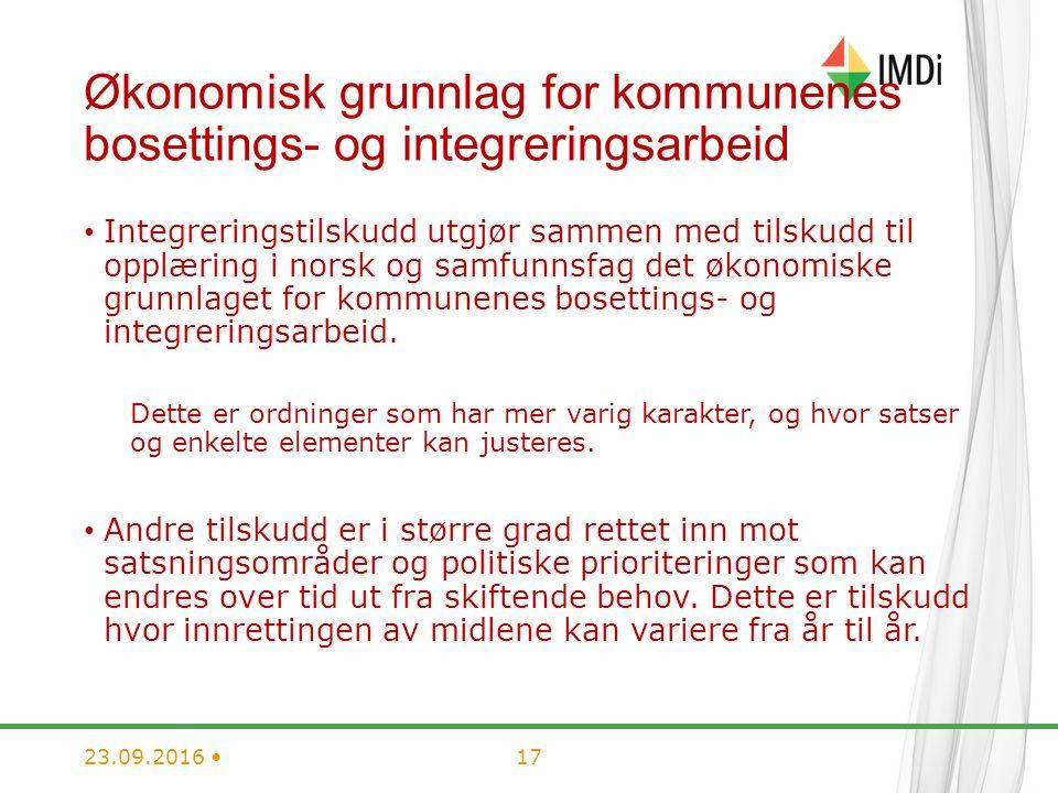 Økonomisk grunnlag for kommunenes bosettings- og integreringsarbeid Integreringstilskudd utgjør sammen med tilskudd til opplæring i norsk og samfunnsfag det økonomiske grunnlaget for kommunenes bosettings- og integreringsarbeid.