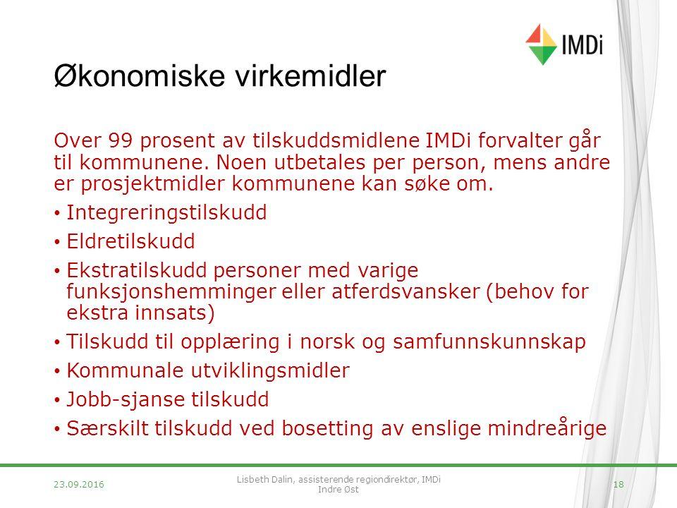 Økonomiske virkemidler Over 99 prosent av tilskuddsmidlene IMDi forvalter går til kommunene.