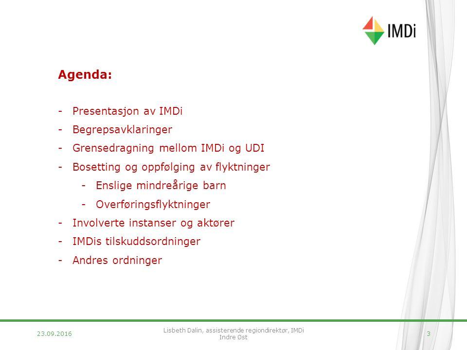 23.09.20163 Agenda: -Presentasjon av IMDi -Begrepsavklaringer -Grensedragning mellom IMDi og UDI -Bosetting og oppfølging av flyktninger -Enslige mindreårige barn -Overføringsflyktninger -Involverte instanser og aktører -IMDis tilskuddsordninger -Andres ordninger Lisbeth Dalin, assisterende regiondirektør, IMDi Indre Øst